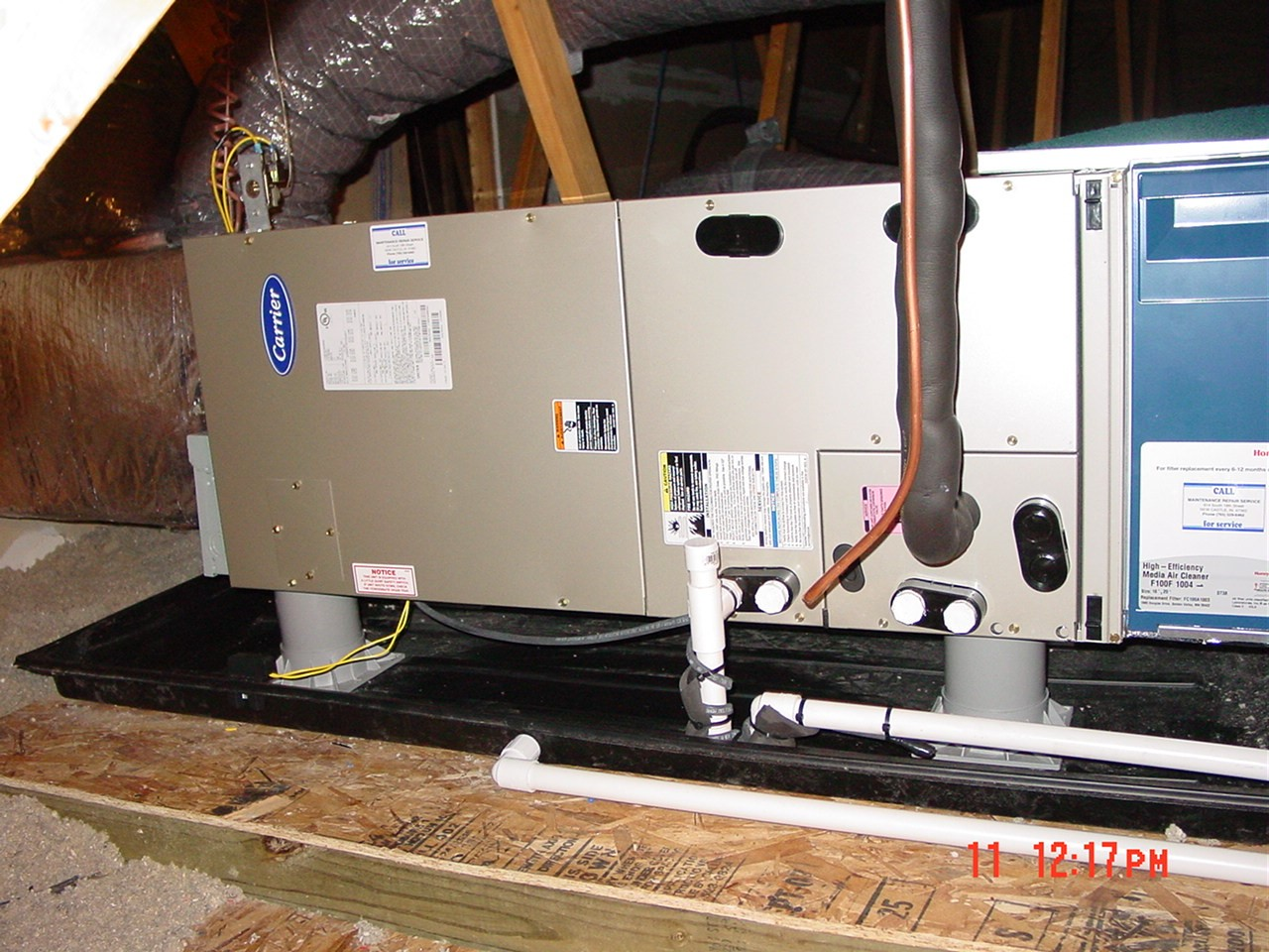 air handler install, media filter install, attic installation, heat pump system install New Castle, IN
