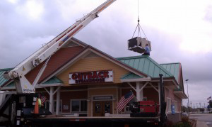 Outback Steakhouse crane lifting unit rooftop unit