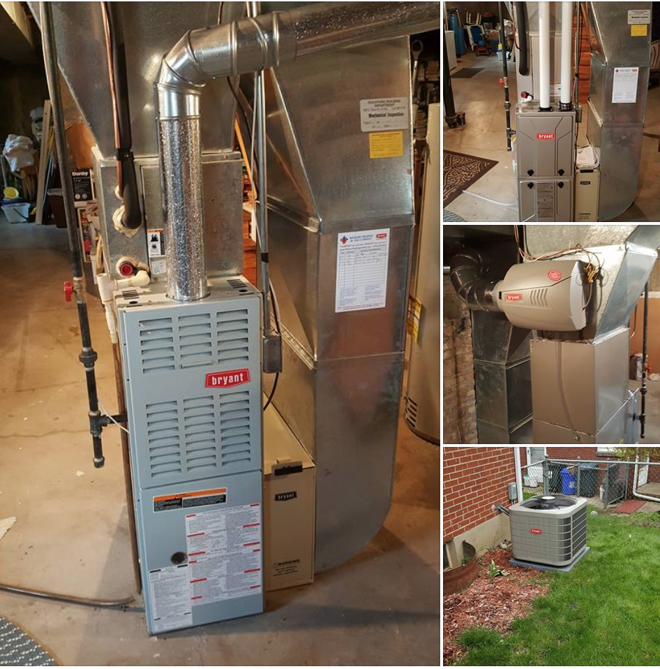 Removed 17 year old furnace & A/C with new Bryant 95% furnace & 15 seer A/C
