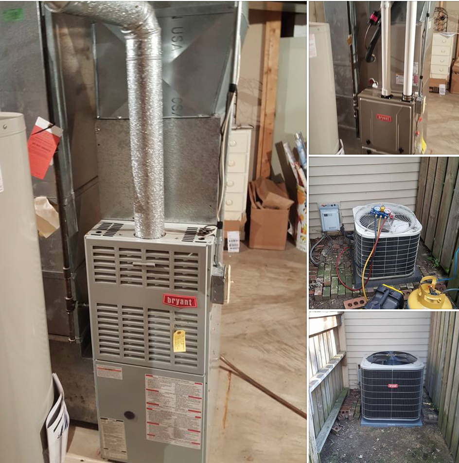Replaced 19 year old Bryant furnace & A/C with new Bryant 96% furance & 16 seer A/C