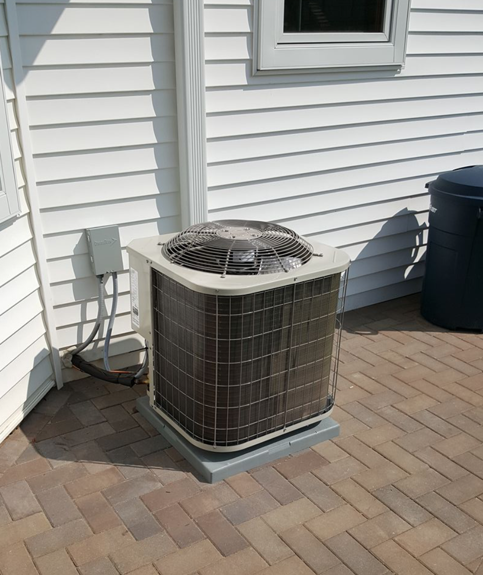 Removed 20 year A/C unit with new Payne 13 seer A/C unit