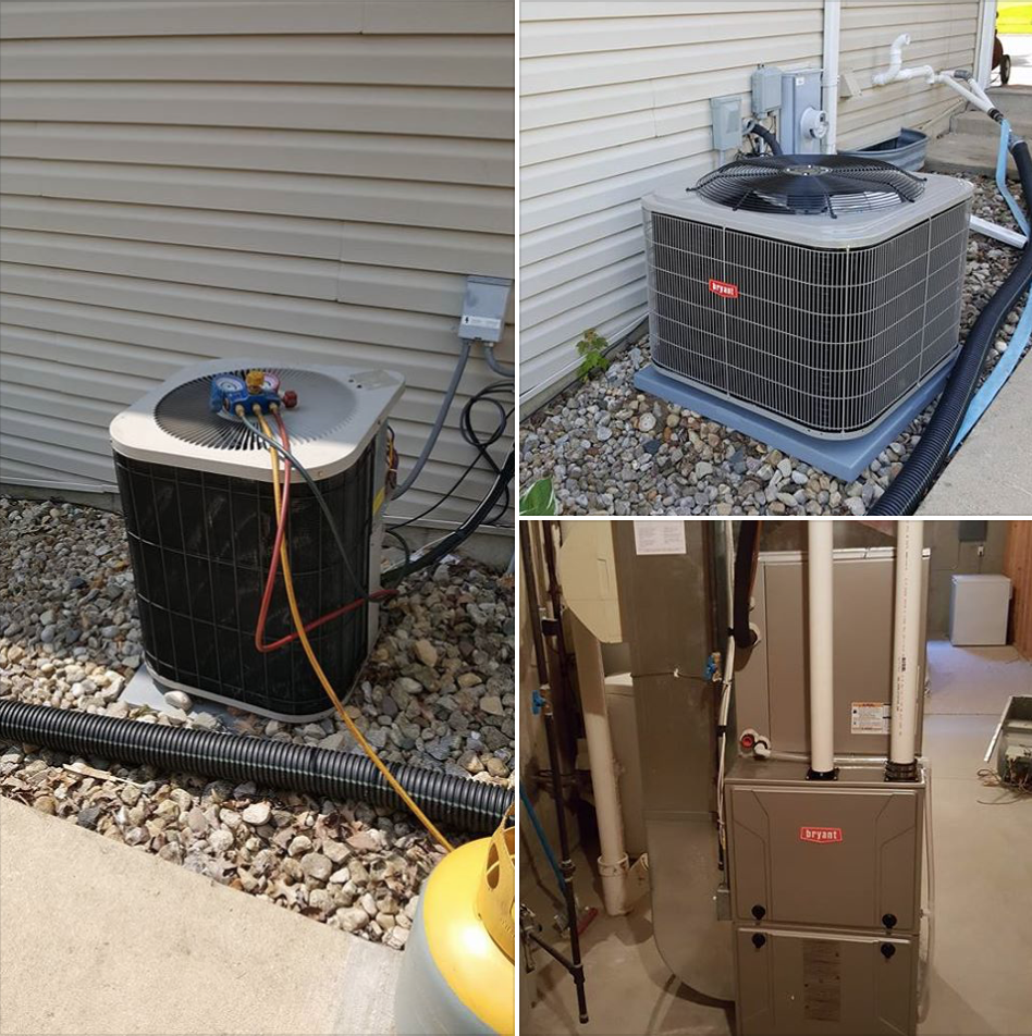 Replaced 17 year old furnace & A/C with new Bryant 96% 2 stage variable speed furnace & 16 seer A/C