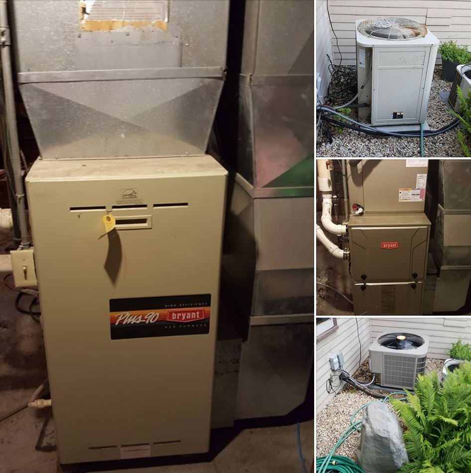 Replaced 19 year old Bryant furnace & 19 year old A/C with new Bryant 96% 2 stage furnace & 16 seer A/C
