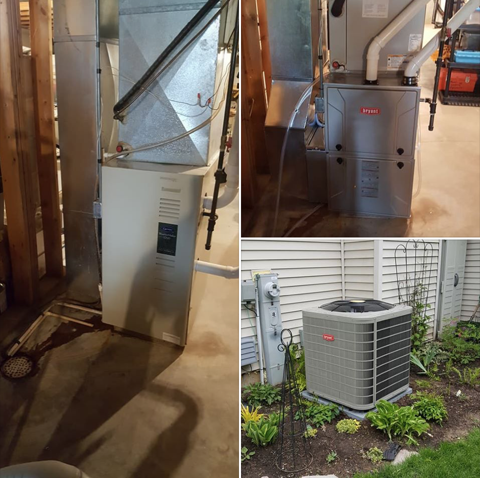 Removed 23 year old Carrier furnace & A/C with new Bryant 96% 2 stage variable speed furnace, new 16 seer A/C