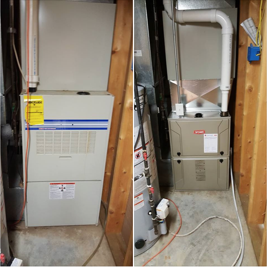 Removed 20 year old Heil furnace with new Bryant 95% furnace