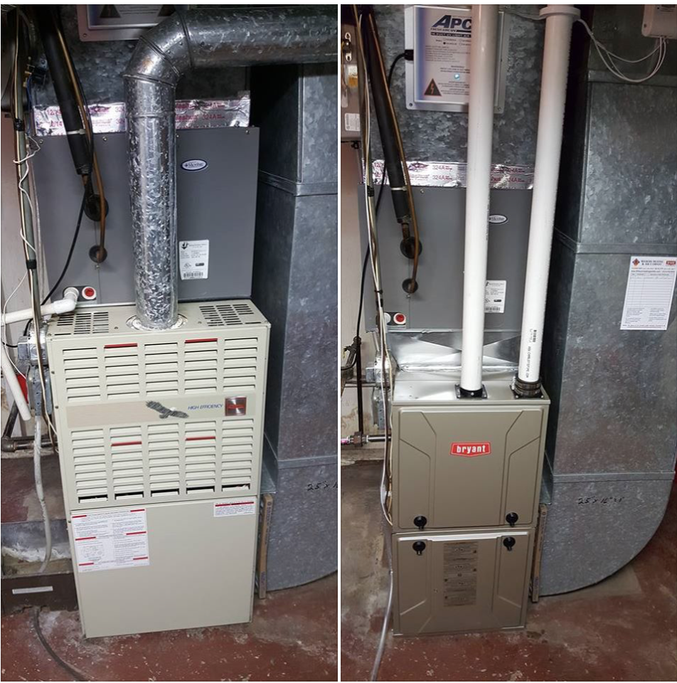 Replaced 25 year old Bryant furnace with new 96% Bryant furnace & Bryant humidifier