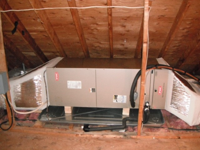 Air Handler in attic with metal drain pan, wet switch and Bryant Media air filter