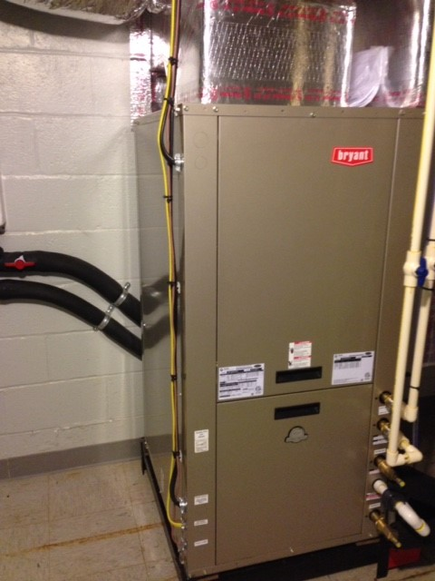 Bryant Geothermal package unit in a basement
