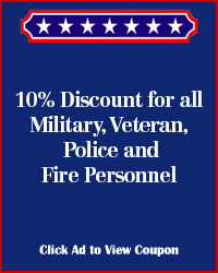 Military, Veteran,  Police and Fire Personnel Discount