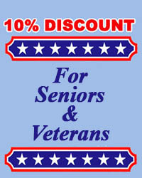 10% Off on service for seniors and veterans