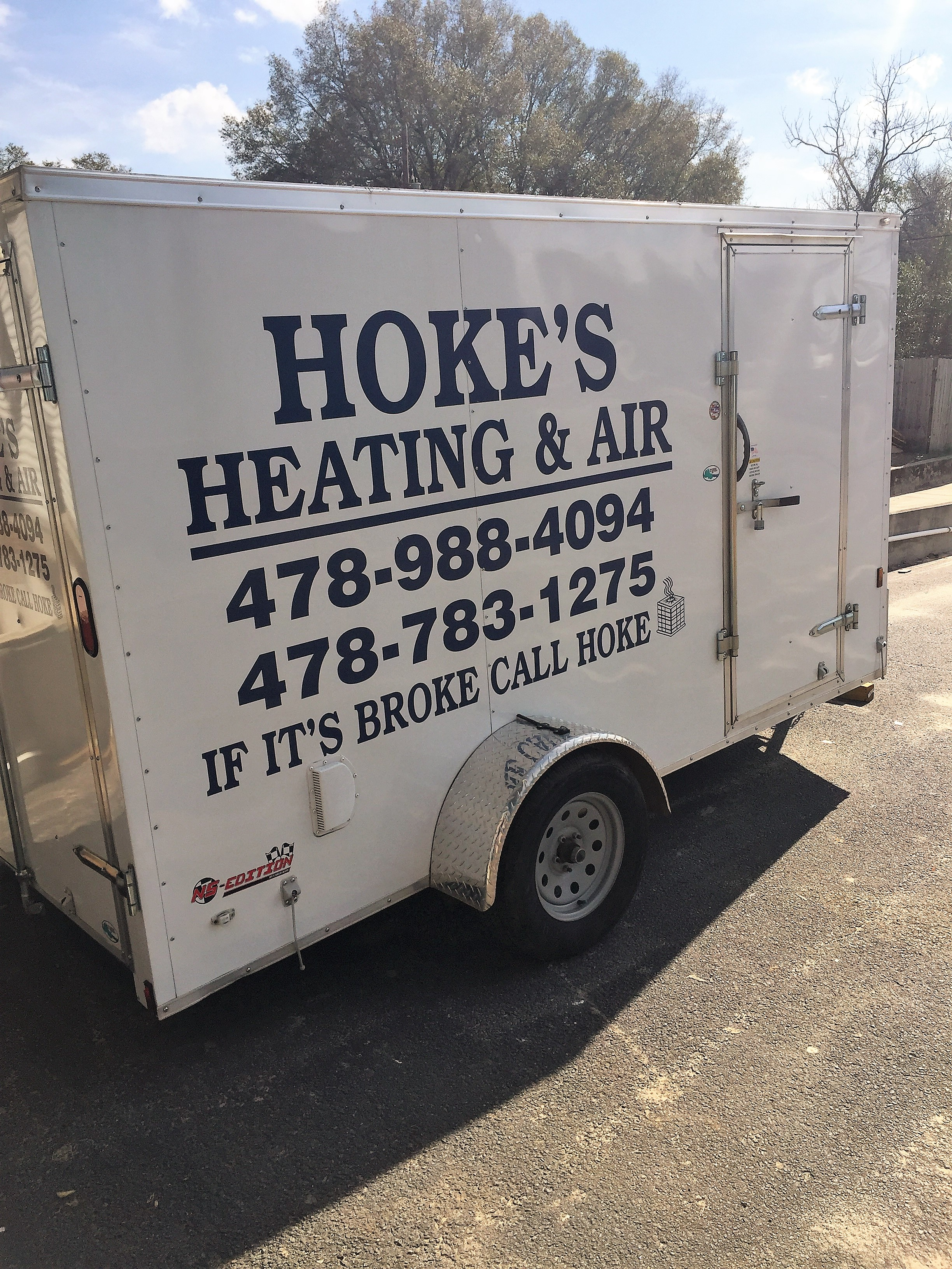 Hoke's Heating and Air company trailer