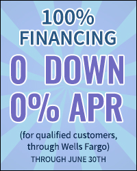 financing offer for 100% financing, 0 down, and 0% apr