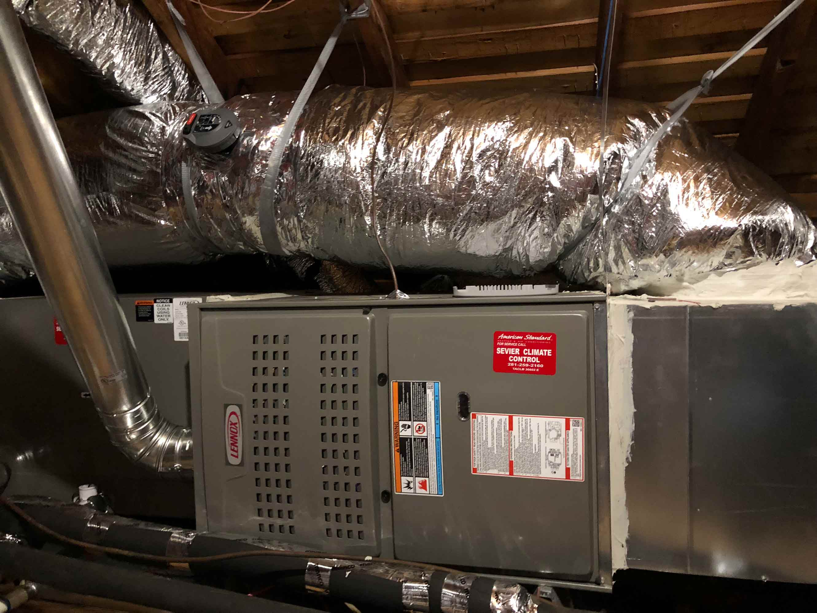 Image of HVAC installation in attic space
