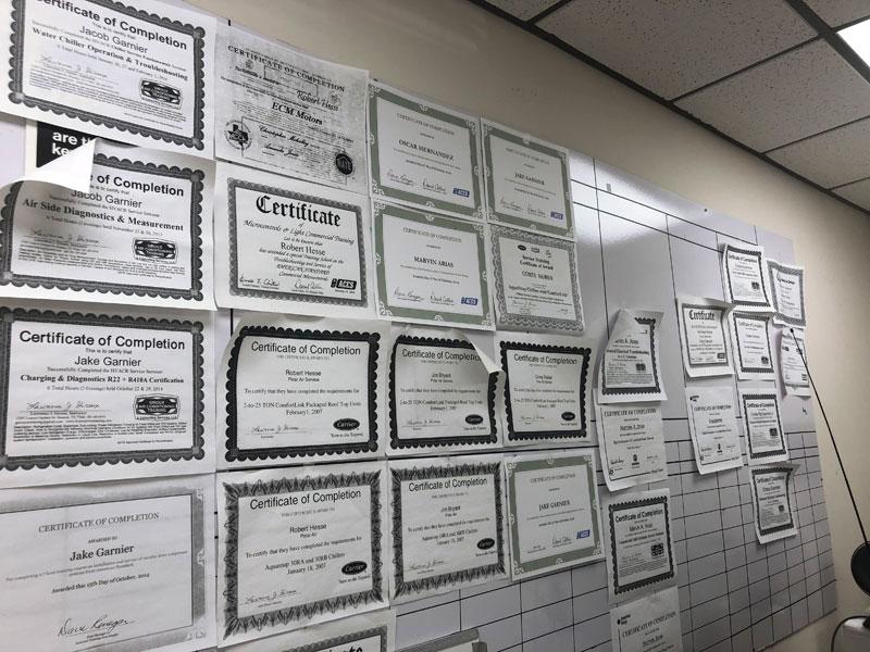 Company/Technician Certifications