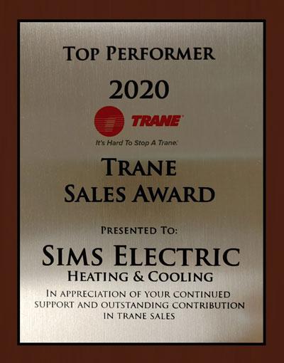 Top Performer - 2020 Trane Top Sales Award