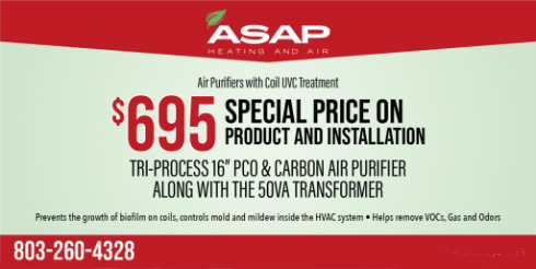 Special Price on Air Purifiers with Coil UVC Treatment Product and Installation