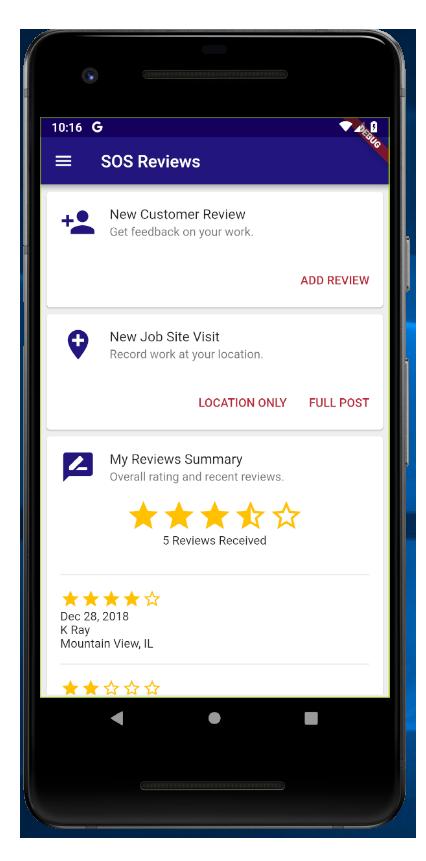 SOS Reviews App homescreen
