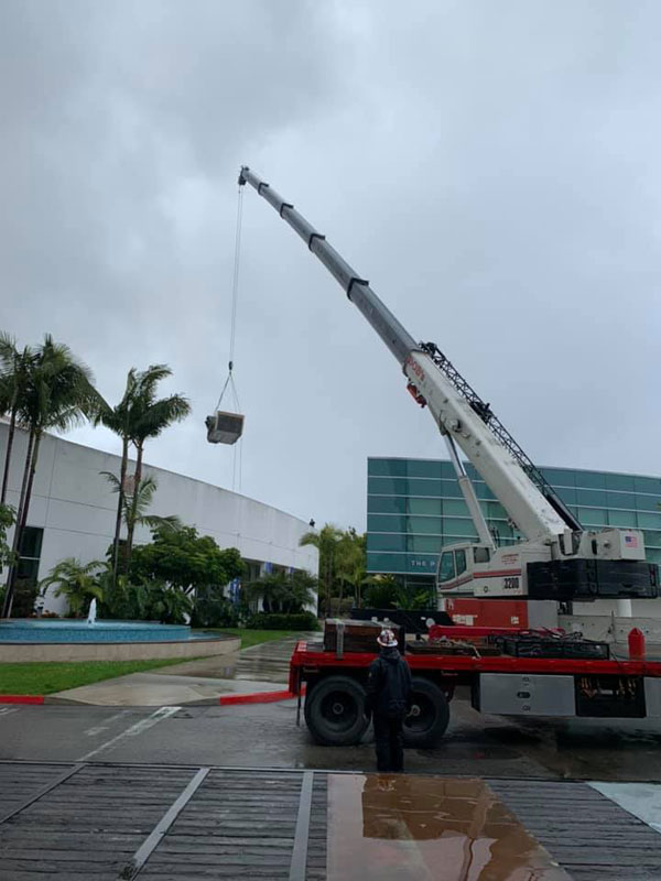 Rooftop Installation Using a Crane