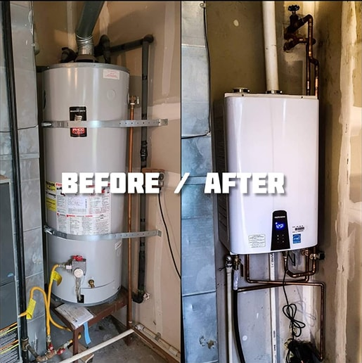 Before and after a tankless water heating unit installation by A Quality Plumber