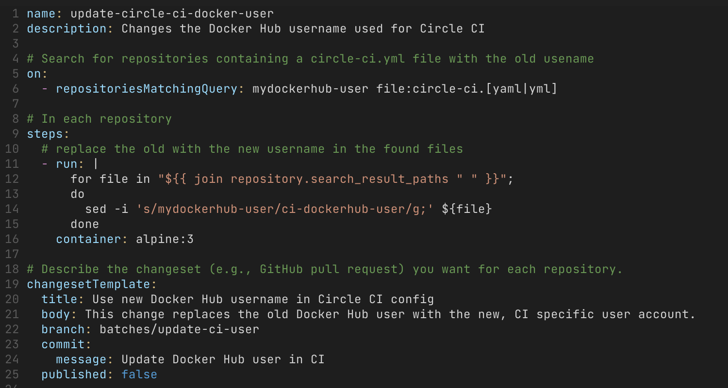Batch spec for updating the username in Circle CI configurations