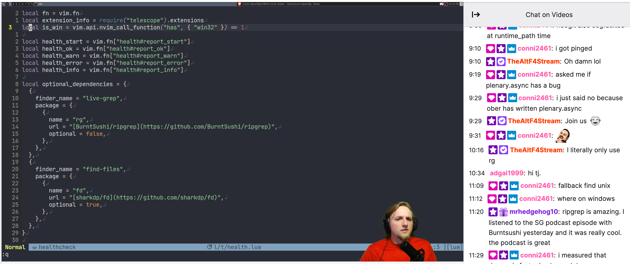 TJ coding live on Twitch
