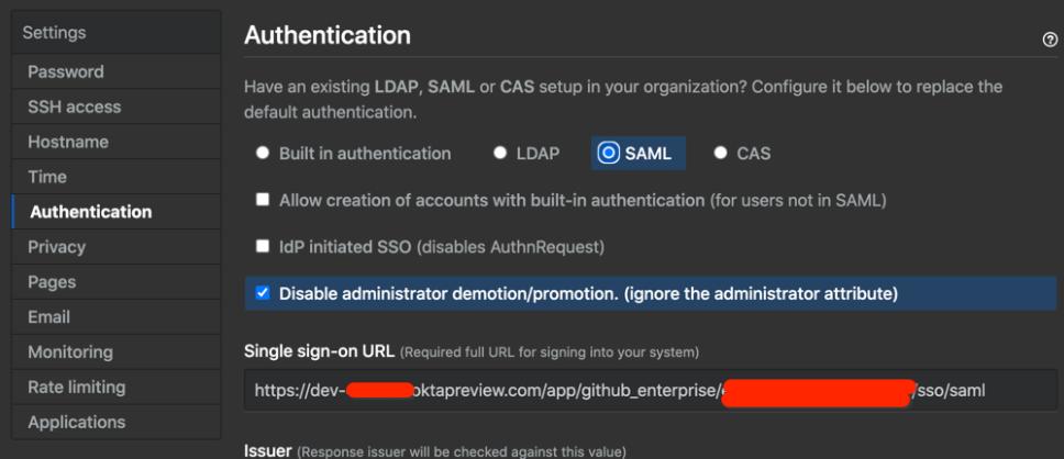 GitHub Enterprise Server SAML settings