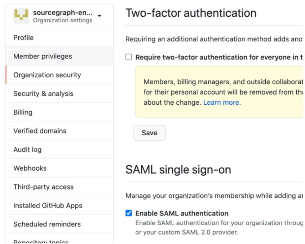 GitHub Enterprise Cloud SAML settings