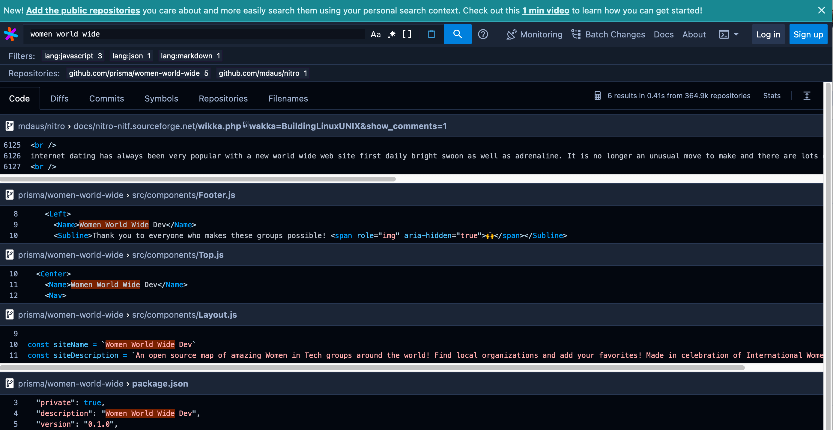 Sourcegraph verification of OSS added