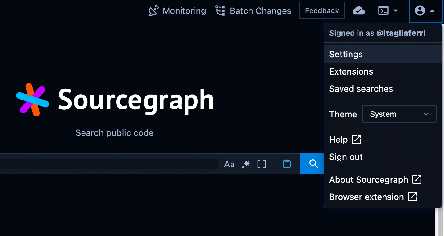 Sourcegraph home with user menu