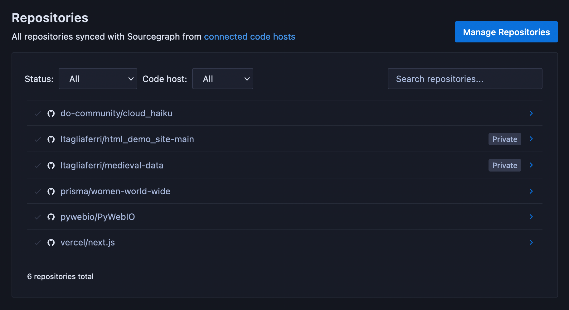 Sourcegraph list displaying all saved repos