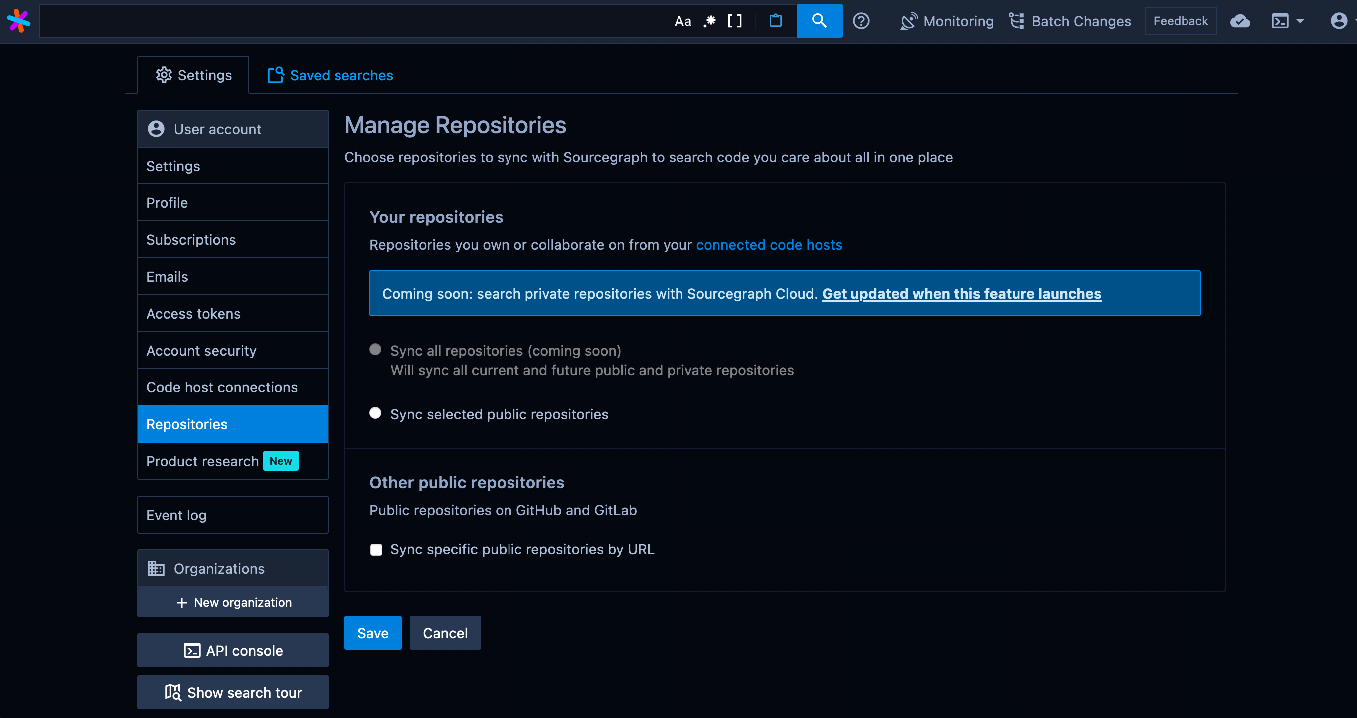 Sourcegraph manage repositories page