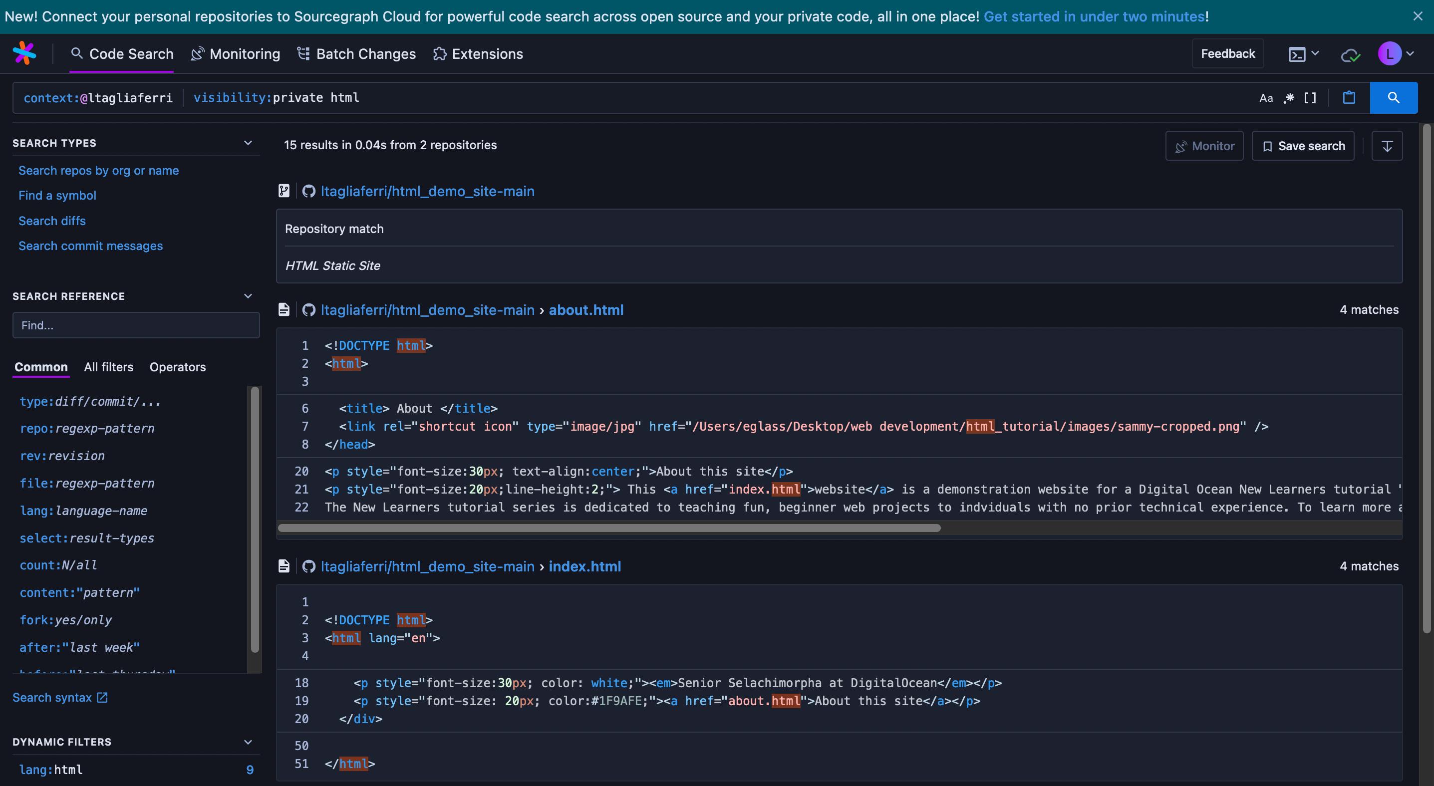 Sourcegraph visibility private code search