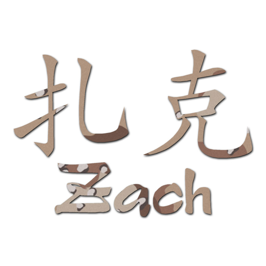 Chinese Symbol Zach Name Decal Sticker Multiple Patterns Sizes