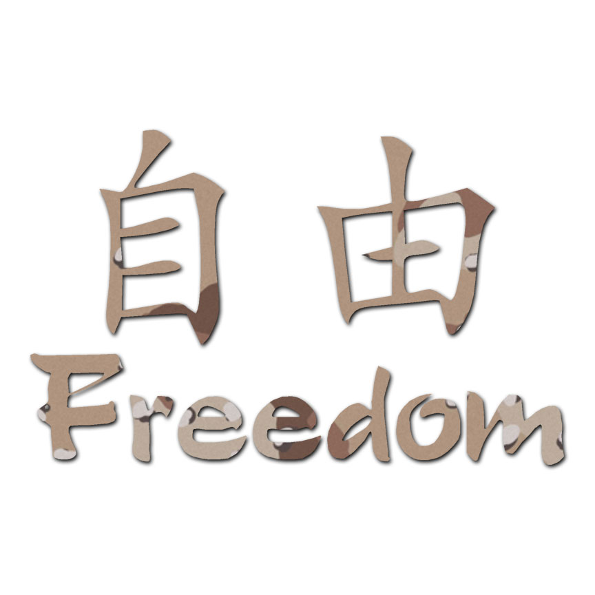 Freedom Chinese Symbols Decal Sticker Multiple Patterns Sizes