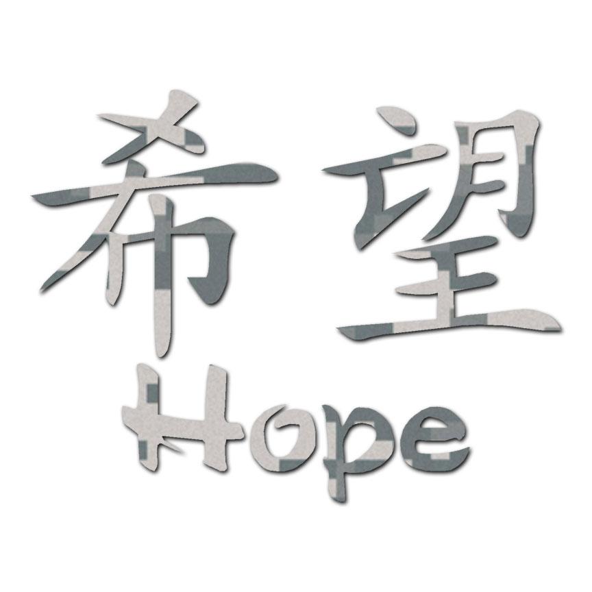 Hope Chinese Symbols Vinyl Decal Sticker Multiple Patterns