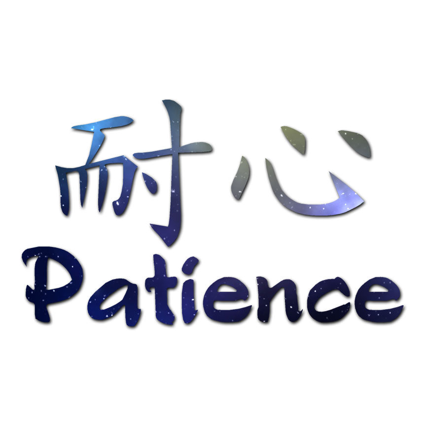 Patience Chinese Symbols Decal Sticker Multiple Patterns Sizes