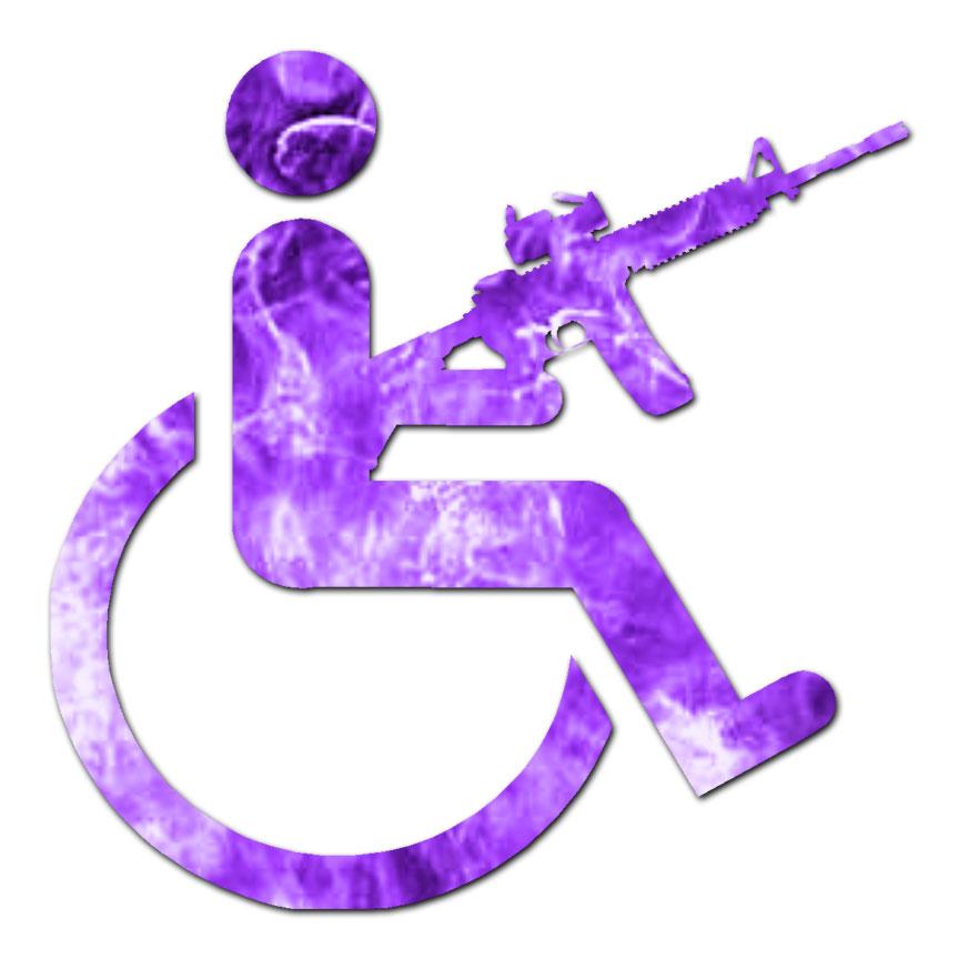 Handicap Gun Wheelchair - Decal Sticker - Multiple Patterns & Sizes ...