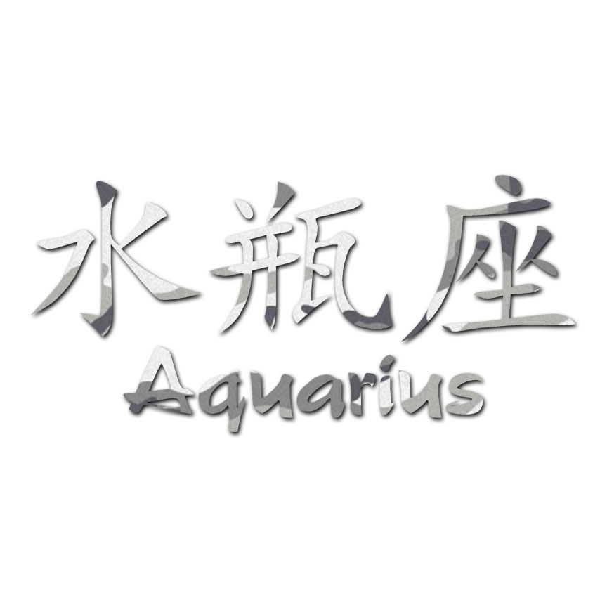 Aquarius Chinese Symbols Decal Sticker Multiple Patterns Sizes