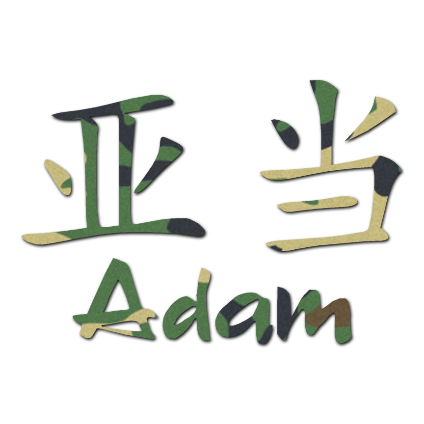 Chinese Symbol Adam Name Decal Sticker Multiple Patterns Sizes