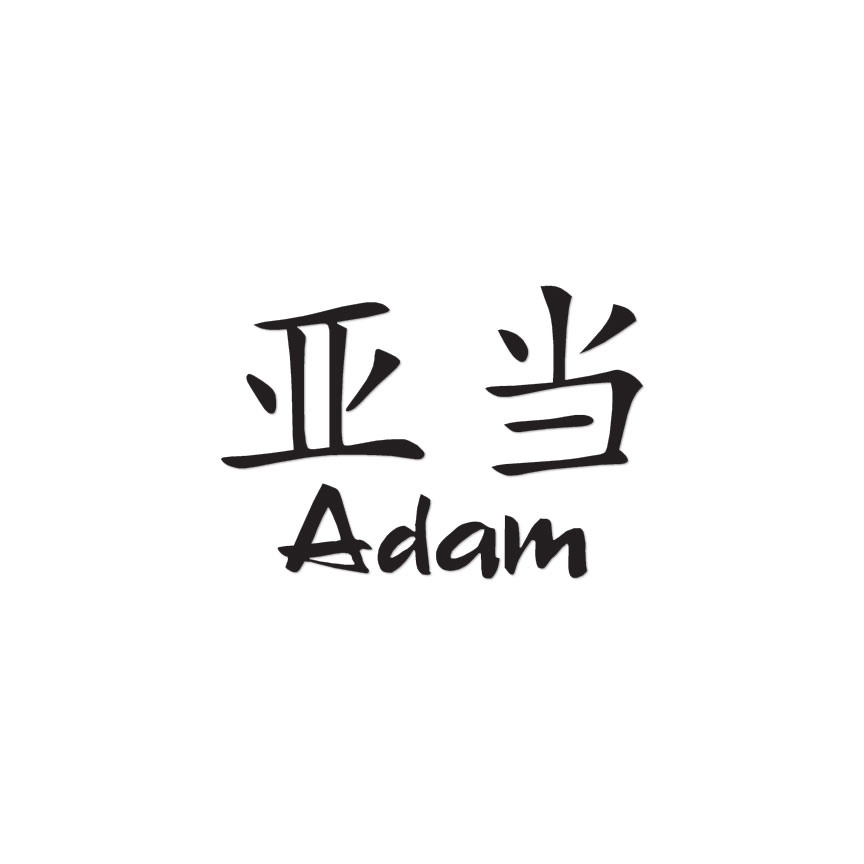 Chinese Symbol Adam Name Decal Sticker Multiple Colors Sizes