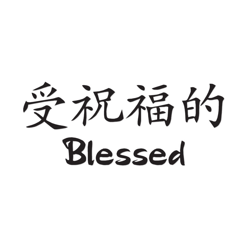 Blessed Chinese Symbols Decal Sticker Multiple Colors Sizes