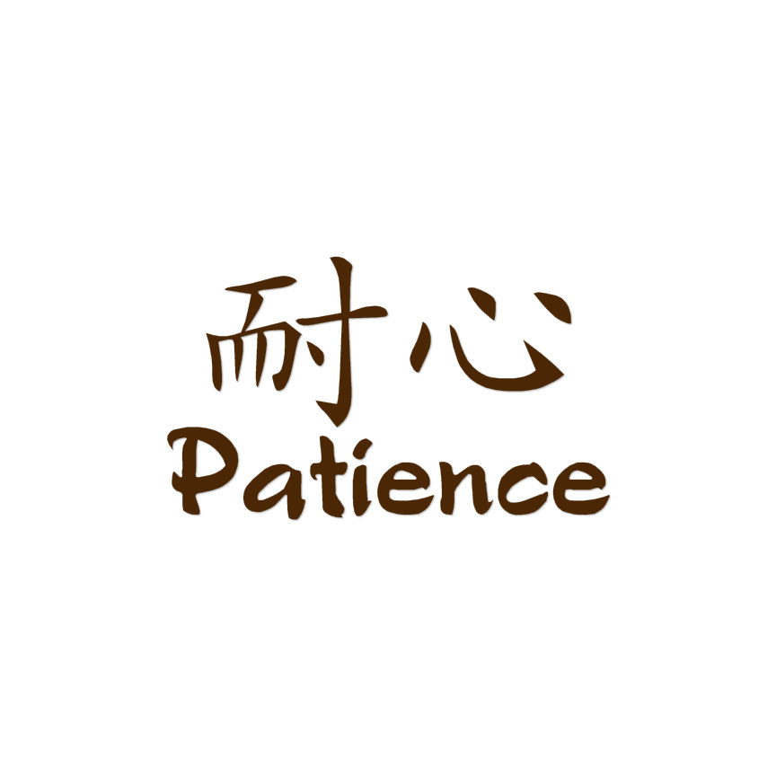 Patience Chinese Symbols Decal Sticker Multiple Colors Sizes