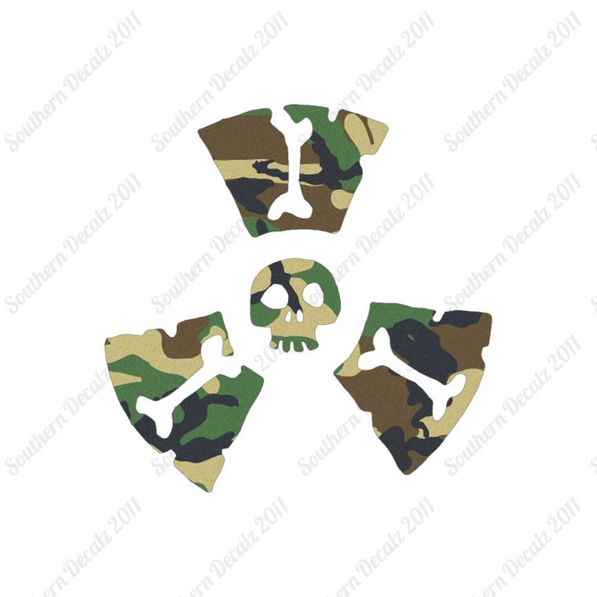 radioactive skull symbols decal sticker multiple