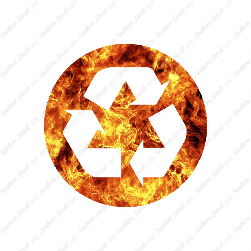 Recycle Symbol Recycling Vinyl Decal Multiple Flames Sizes