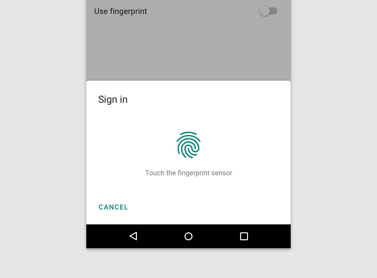 Android fingerprint - Material Design
