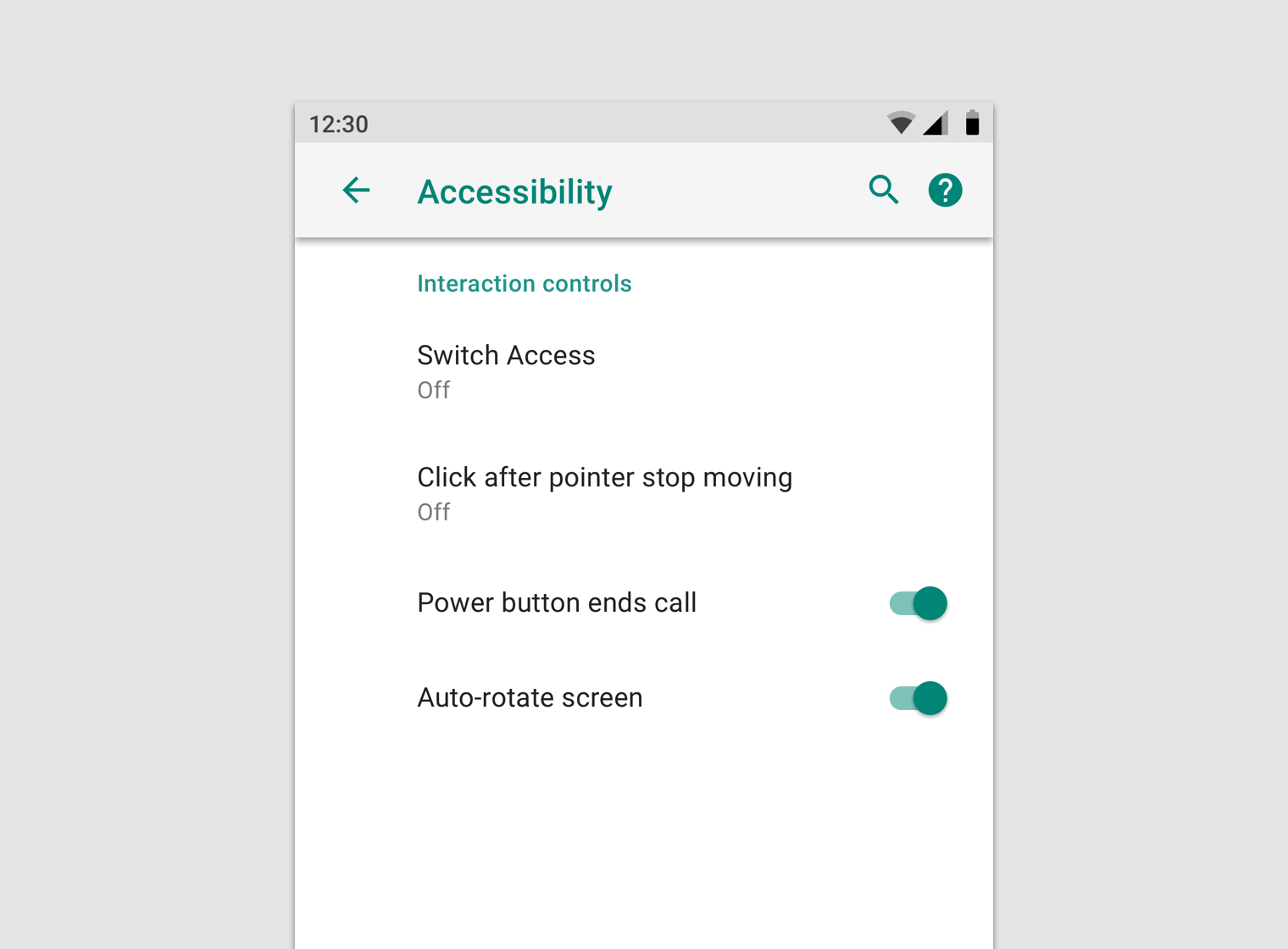 Android settings - Material Design