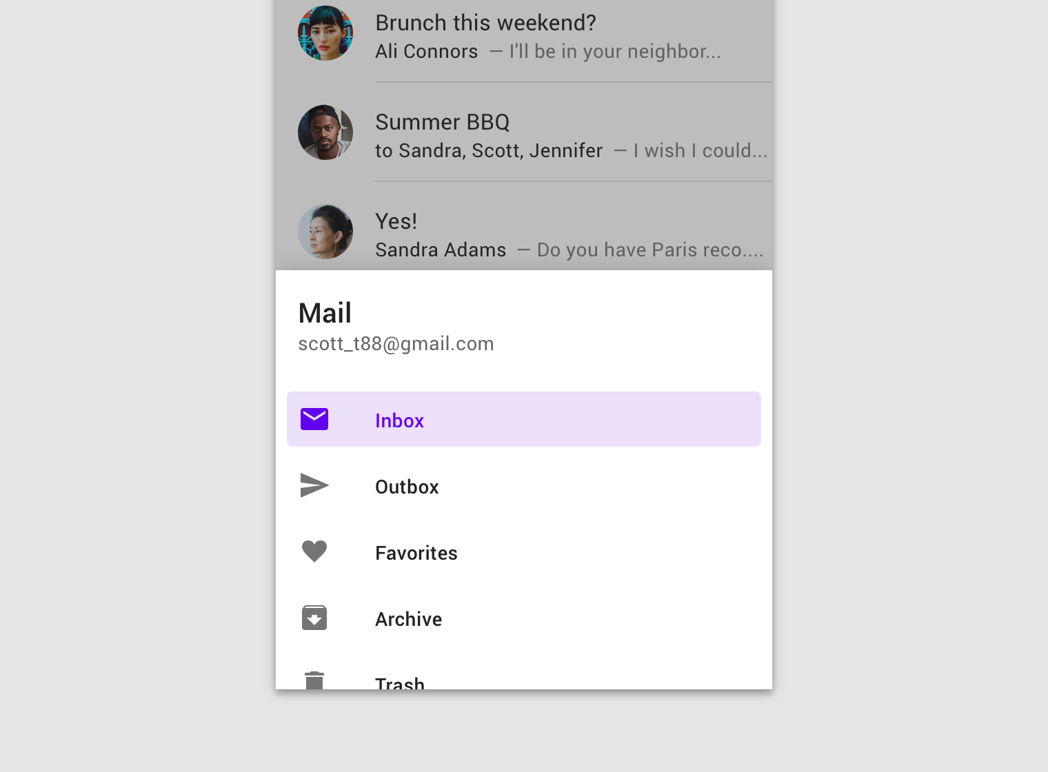 Navigation drawer - Material Design