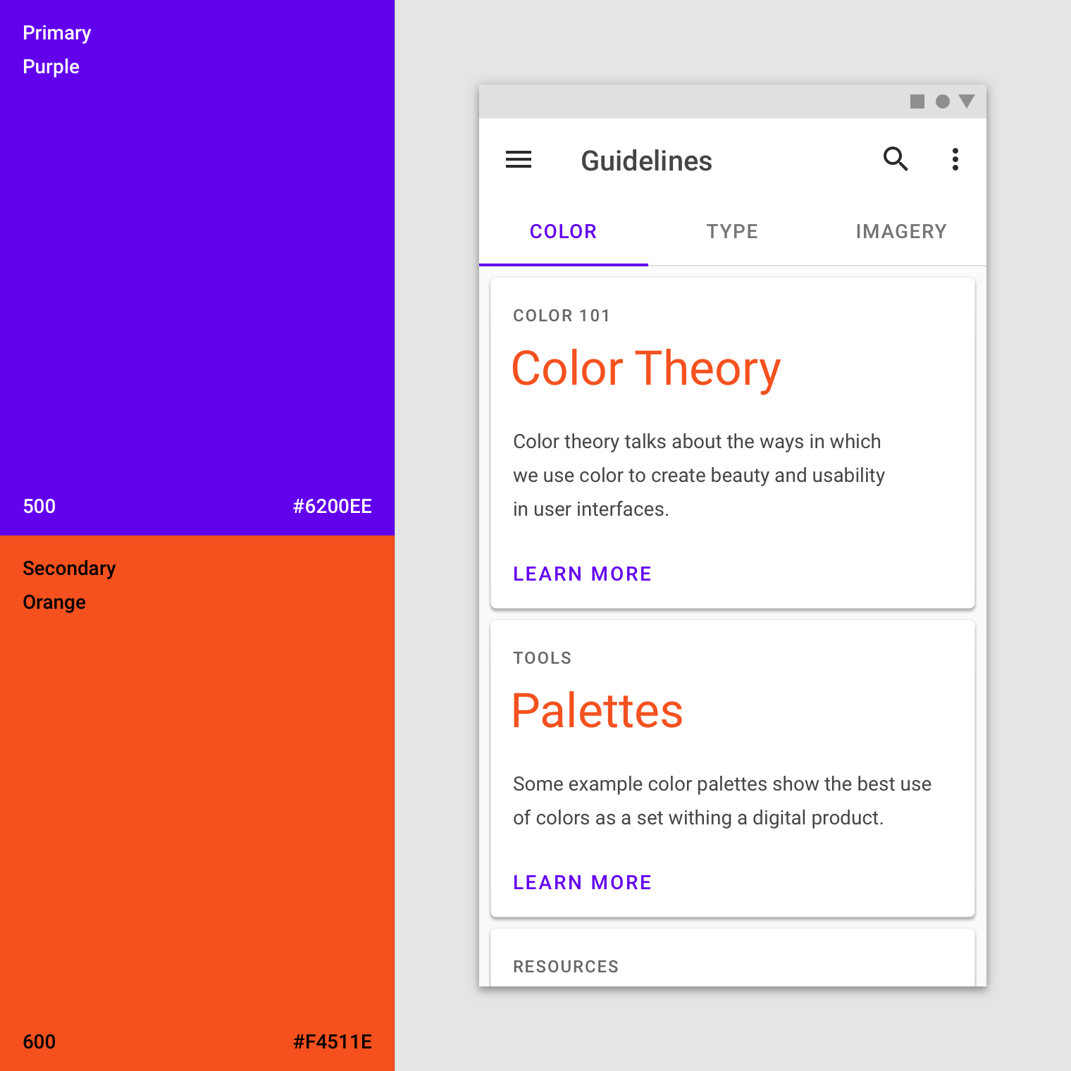 Applying color to UI - Material Design
