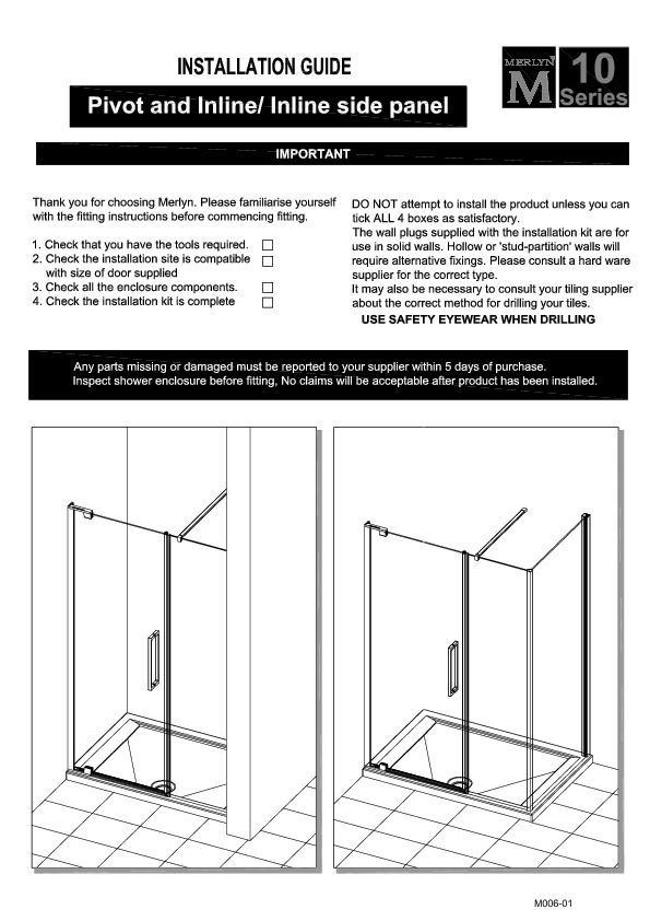 10 Series Pivot Door U0026 Inline Panel Installation Guide