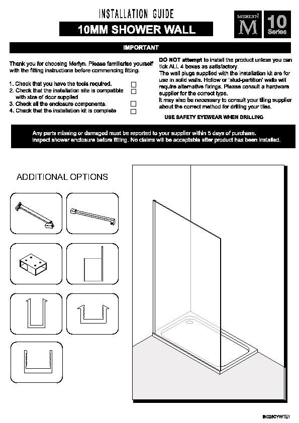 10 Series Showerwall Installation Guide